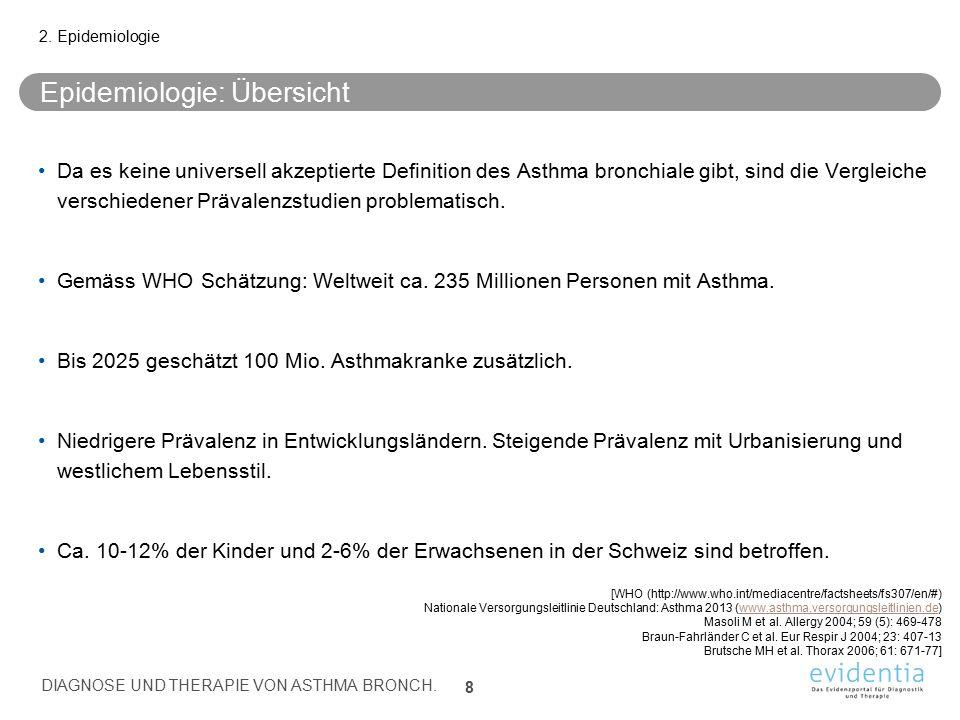 Da es keine universell akzeptierte Definition des Asthma bronchiale gibt, sind die Vergleiche verschiedener Prävalenzstudien problematisch. Gemäss WHO