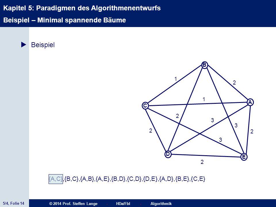 5/4, Folie 14 © 2014 Prof. Steffen Lange - HDa/FbI - Algorithmik Kapitel 5: Paradigmen des Algorithmenentwurfs C A D B E 1 2 2 2 2 1 3 3 2 3  Beispie