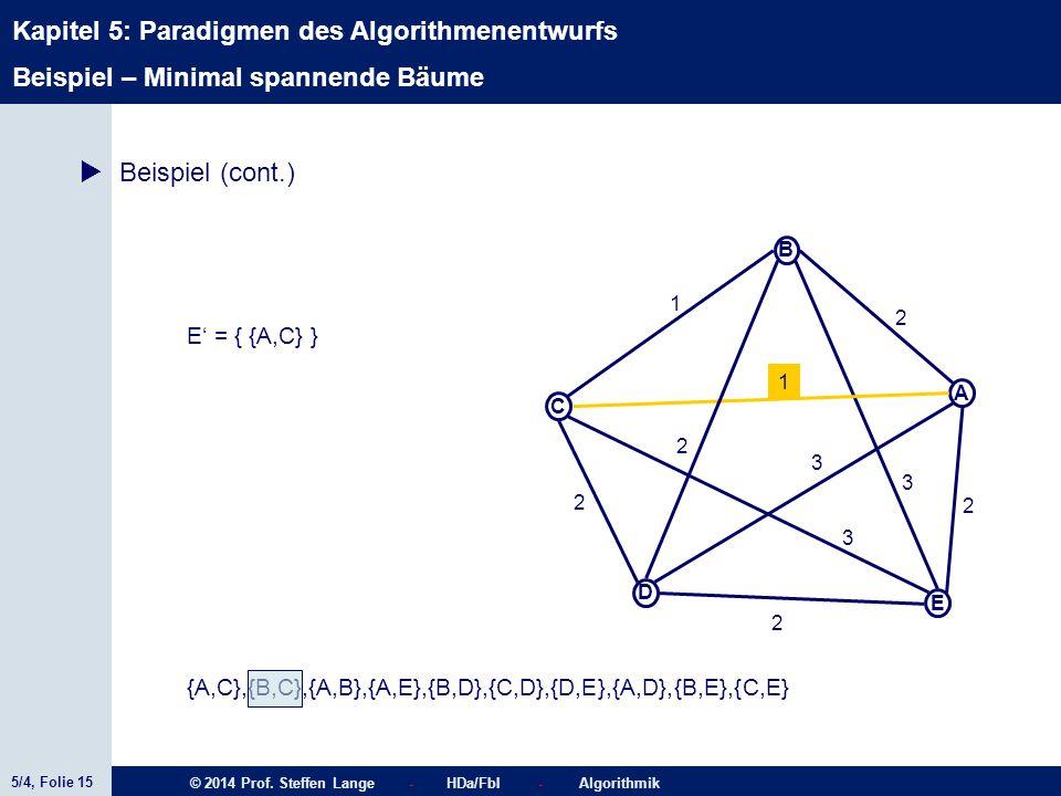 5/4, Folie 15 © 2014 Prof. Steffen Lange - HDa/FbI - Algorithmik Kapitel 5: Paradigmen des Algorithmenentwurfs C A D B E 1 2 2 2 2 1 3 3 2 3 {A,C},{B,