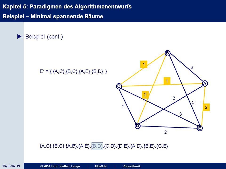 5/4, Folie 19 © 2014 Prof. Steffen Lange - HDa/FbI - Algorithmik Kapitel 5: Paradigmen des Algorithmenentwurfs C A D B E 1 2 2 2 2 1 3 3 2 3  Beispie