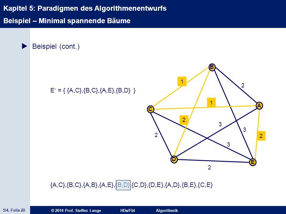 5/4, Folie 20 © 2014 Prof. Steffen Lange - HDa/FbI - Algorithmik Kapitel 5: Paradigmen des Algorithmenentwurfs C A D B E 1 2 2 2 2 1 3 3 2 3  Beispie