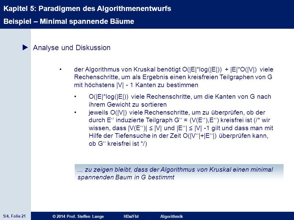 5/4, Folie 21 © 2014 Prof. Steffen Lange - HDa/FbI - Algorithmik Kapitel 5: Paradigmen des Algorithmenentwurfs Beispiel – Minimal spannende Bäume  An