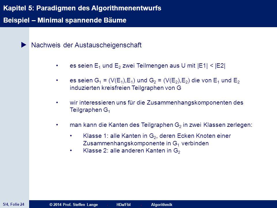 5/4, Folie 24 © 2014 Prof. Steffen Lange - HDa/FbI - Algorithmik Kapitel 5: Paradigmen des Algorithmenentwurfs Beispiel – Minimal spannende Bäume  Na