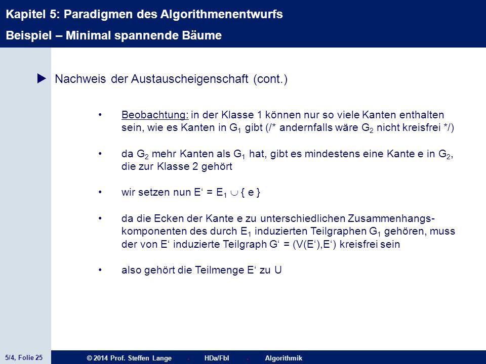 5/4, Folie 25 © 2014 Prof. Steffen Lange - HDa/FbI - Algorithmik Kapitel 5: Paradigmen des Algorithmenentwurfs Beispiel – Minimal spannende Bäume  Na