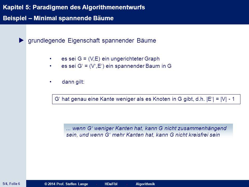 5/4, Folie 6 © 2014 Prof. Steffen Lange - HDa/FbI - Algorithmik Kapitel 5: Paradigmen des Algorithmenentwurfs Beispiel – Minimal spannende Bäume  gru