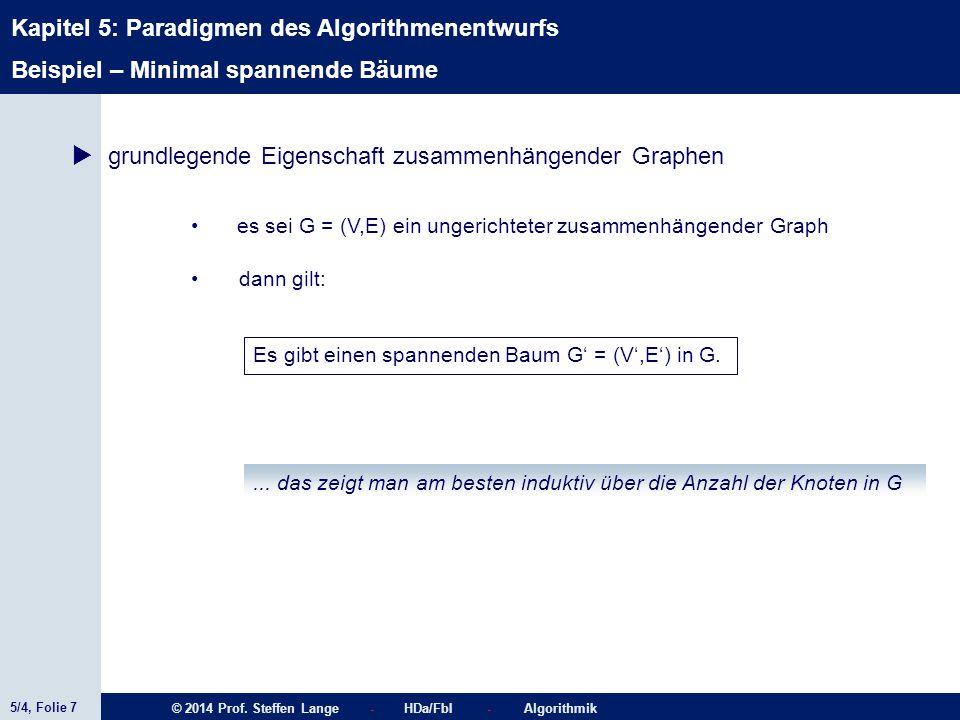 5/4, Folie 7 © 2014 Prof. Steffen Lange - HDa/FbI - Algorithmik Kapitel 5: Paradigmen des Algorithmenentwurfs Beispiel – Minimal spannende Bäume  gru