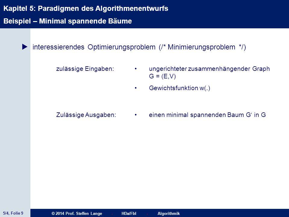 5/4, Folie 9 © 2014 Prof. Steffen Lange - HDa/FbI - Algorithmik Kapitel 5: Paradigmen des Algorithmenentwurfs  interessierendes Optimierungsproblem (