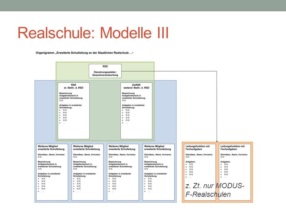 Realschule: Modelle III z. Zt. nur MODUS- F-Realschulen