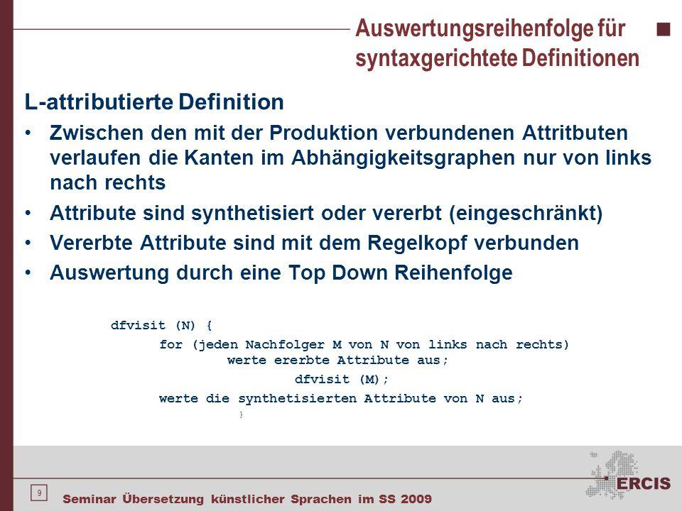9 Seminar Übersetzung künstlicher Sprachen im SS 2009 Auswertungsreihenfolge für syntaxgerichtete Definitionen L-attributierte Definition Zwischen den