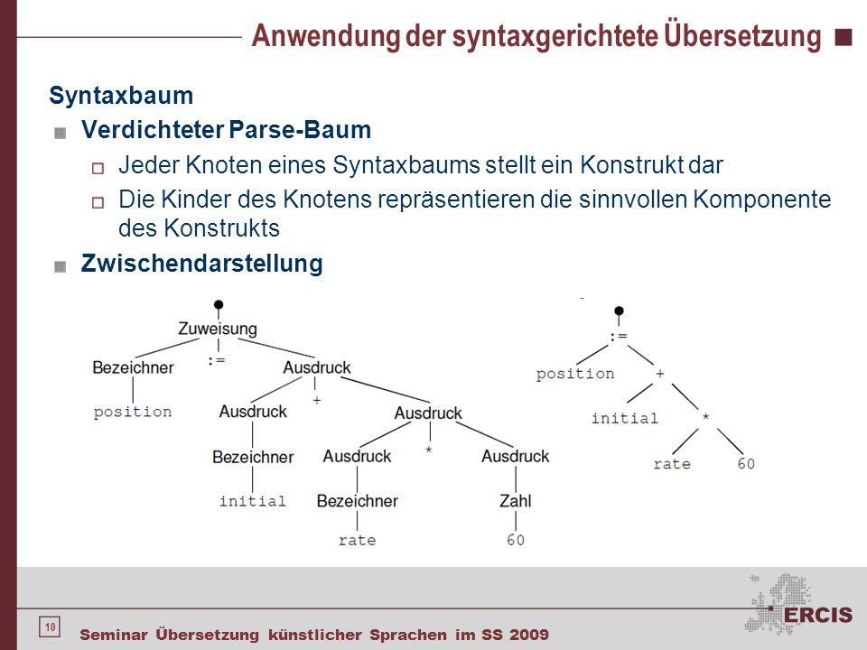 10 Seminar Übersetzung künstlicher Sprachen im SS 2009 Anwendung der syntaxgerichtete Übersetzung Syntaxbaum Verdichteter Parse-Baum Jeder Knoten eine