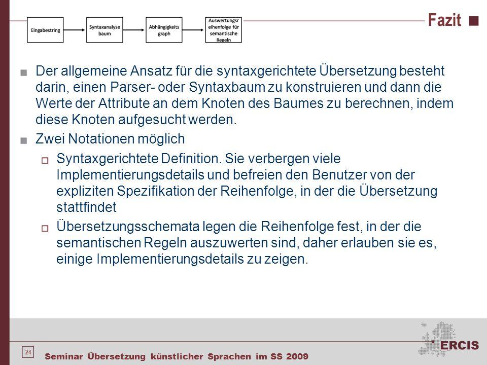 24 Seminar Übersetzung künstlicher Sprachen im SS 2009 Fazit Der allgemeine Ansatz für die syntaxgerichtete Übersetzung besteht darin, einen Parser- o