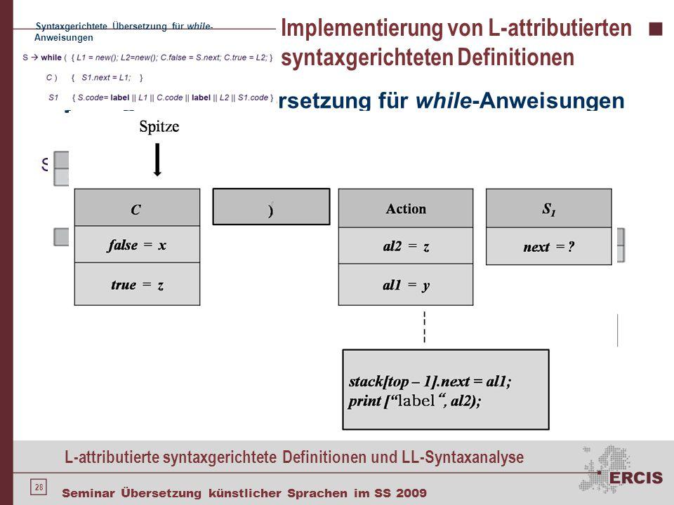 28 Seminar Übersetzung künstlicher Sprachen im SS 2009 Implementierung von L-attributierten syntaxgerichteten Definitionen Syntaxgerichtete Übersetzun