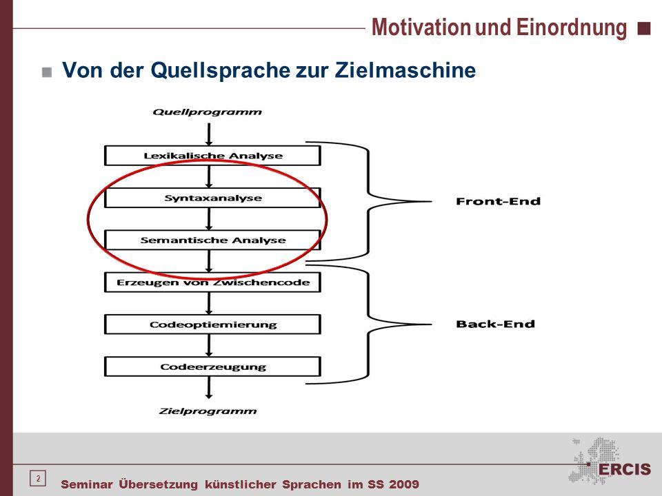 2 Seminar Übersetzung künstlicher Sprachen im SS 2009 Motivation und Einordnung Von der Quellsprache zur Zielmaschine
