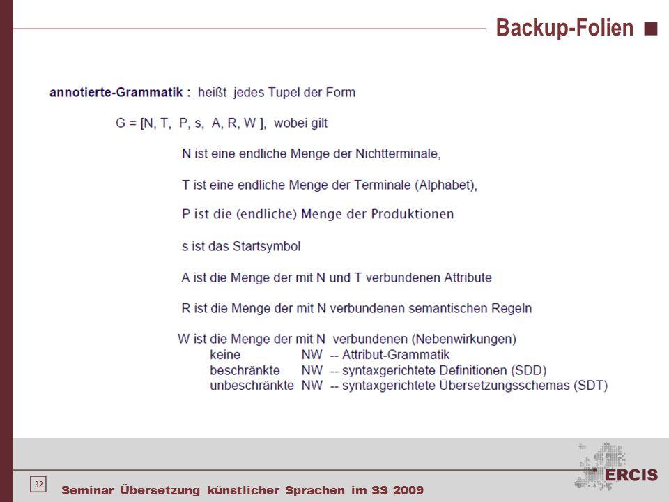 32 Seminar Übersetzung künstlicher Sprachen im SS 2009 Backup-Folien