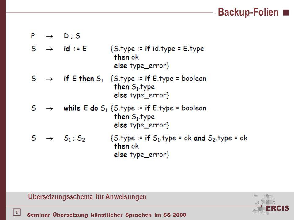 37 Seminar Übersetzung künstlicher Sprachen im SS 2009 Backup-Folien Übersetzungsschema für Anweisungen