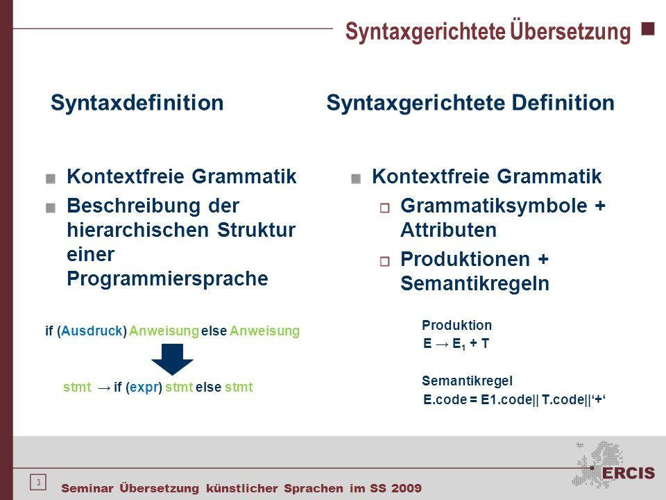 3 Seminar Übersetzung künstlicher Sprachen im SS 2009 Syntaxgerichtete Übersetzung Syntaxdefinition Kontextfreie Grammatik Beschreibung der hierarchis