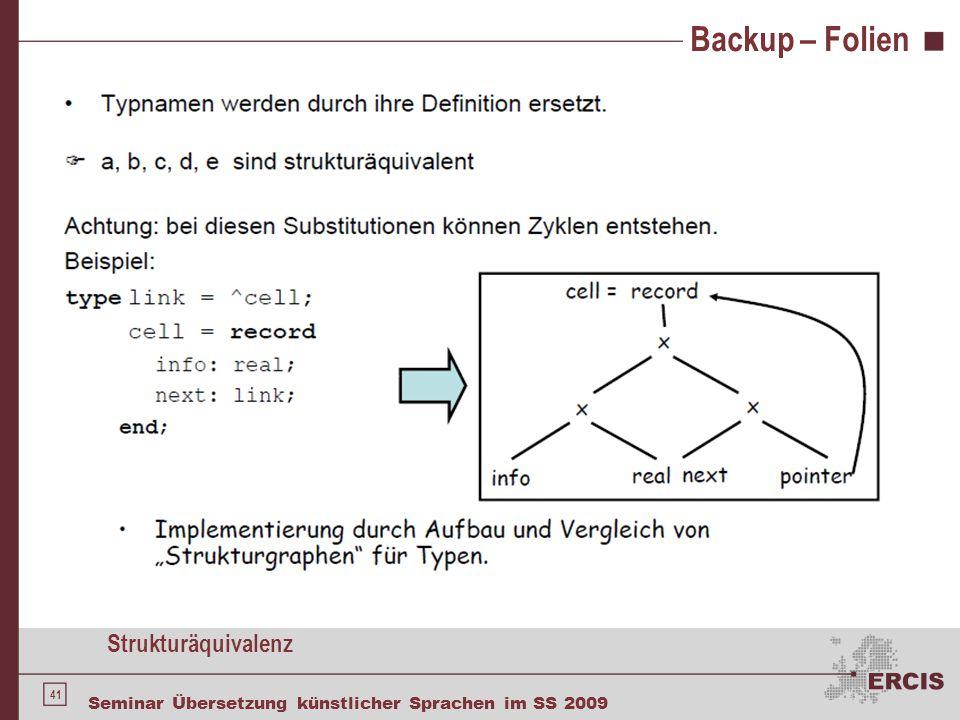 41 Seminar Übersetzung künstlicher Sprachen im SS 2009 Backup – Folien Strukturäquivalenz