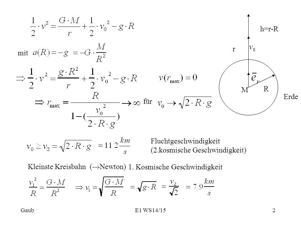 M R r h=r-R Erde für Fluchtgeschwindigkeit (2.kosmische Geschwindigkeit) Kleinste Kreisbahn (  Newton) 1. Kosmische Geschwindigkeit mit Gaub2E1 WS14/