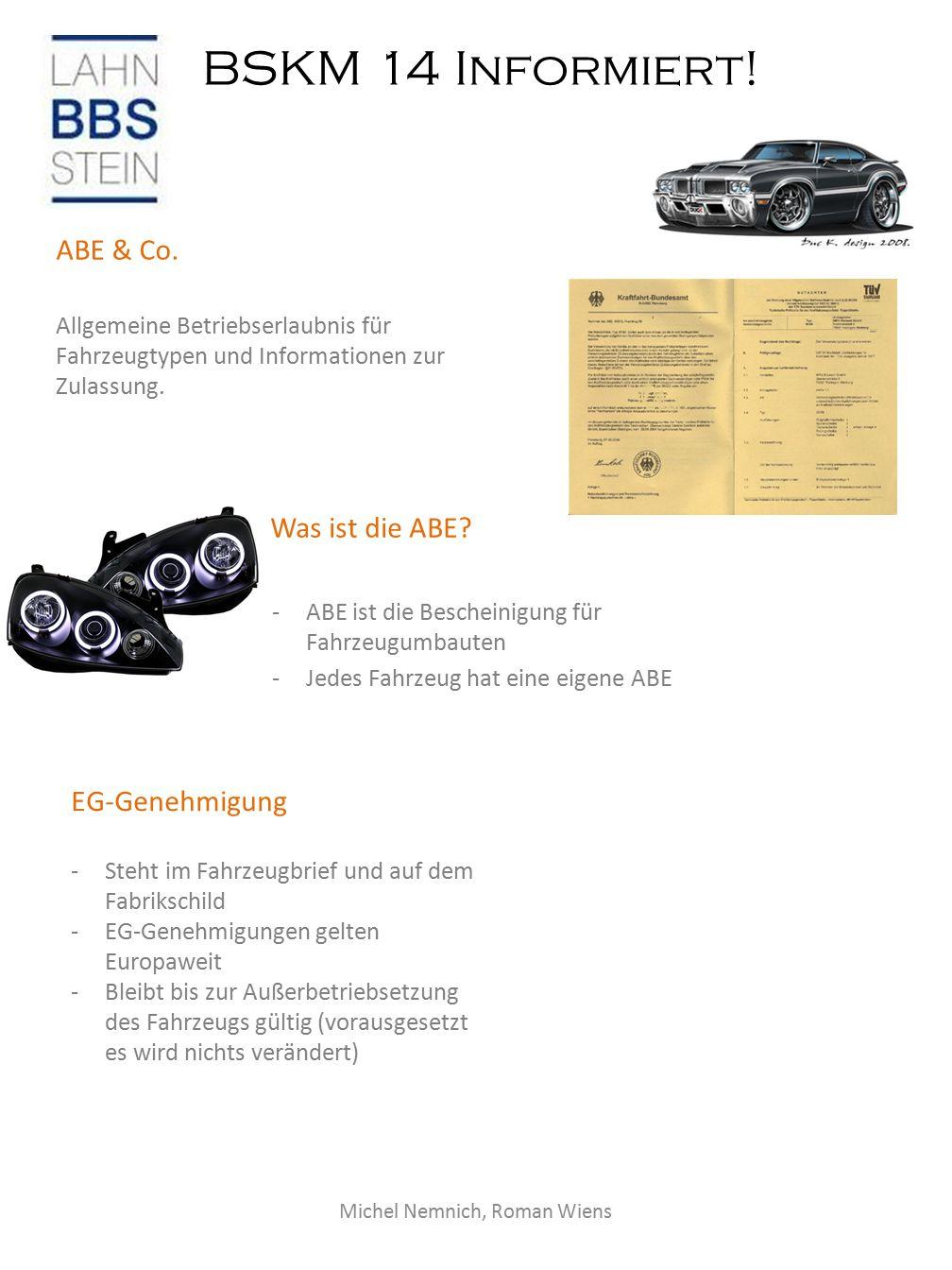 BSKM 14 Informiert.Bremsflüssigkeit ABE & Co.