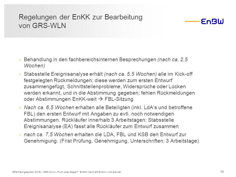 10 Regelungen der EnKK zur Bearbeitung von GRS-WLN GRS-Fachgespräch 2015 – GRS-WLN – Fluch oder Segen? EnBW Kernkraft GmbH - LNA-Sander ›Behandlung in