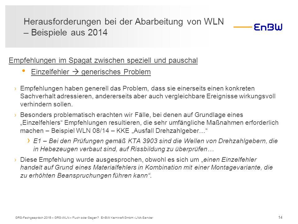 14 Herausforderungen bei der Abarbeitung von WLN – Beispiele aus 2014 GRS-Fachgespräch 2015 – GRS-WLN – Fluch oder Segen? EnBW Kernkraft GmbH - LNA-Sa