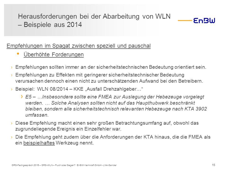 15 Herausforderungen bei der Abarbeitung von WLN – Beispiele aus 2014 GRS-Fachgespräch 2015 – GRS-WLN – Fluch oder Segen? EnBW Kernkraft GmbH - LNA-Sa