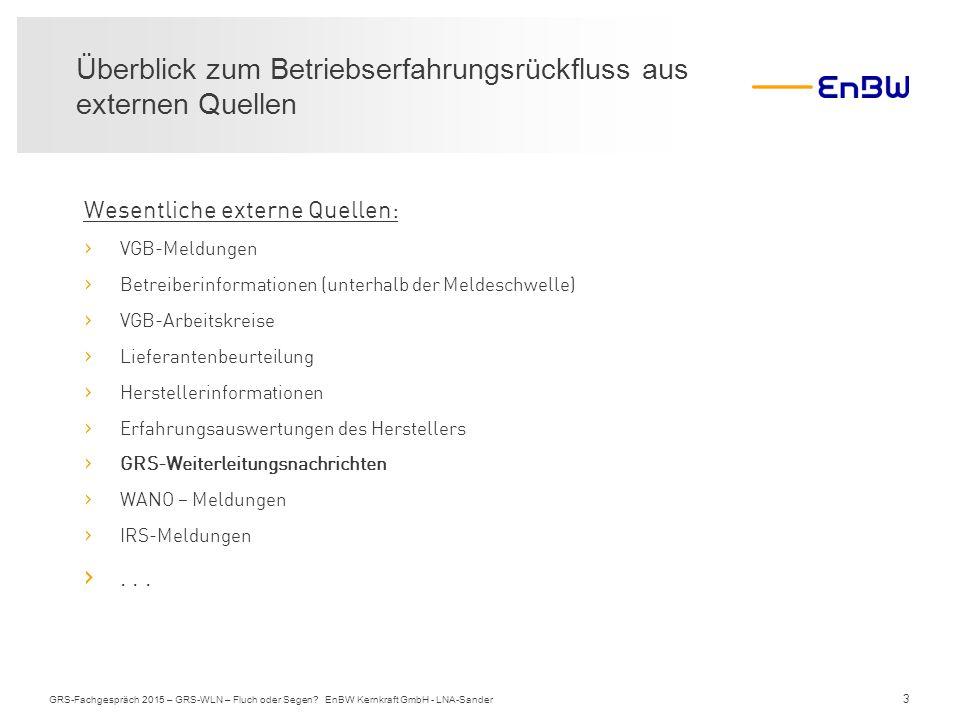 3 Überblick zum Betriebserfahrungsrückfluss aus externen Quellen GRS-Fachgespräch 2015 – GRS-WLN – Fluch oder Segen? EnBW Kernkraft GmbH - LNA-Sander