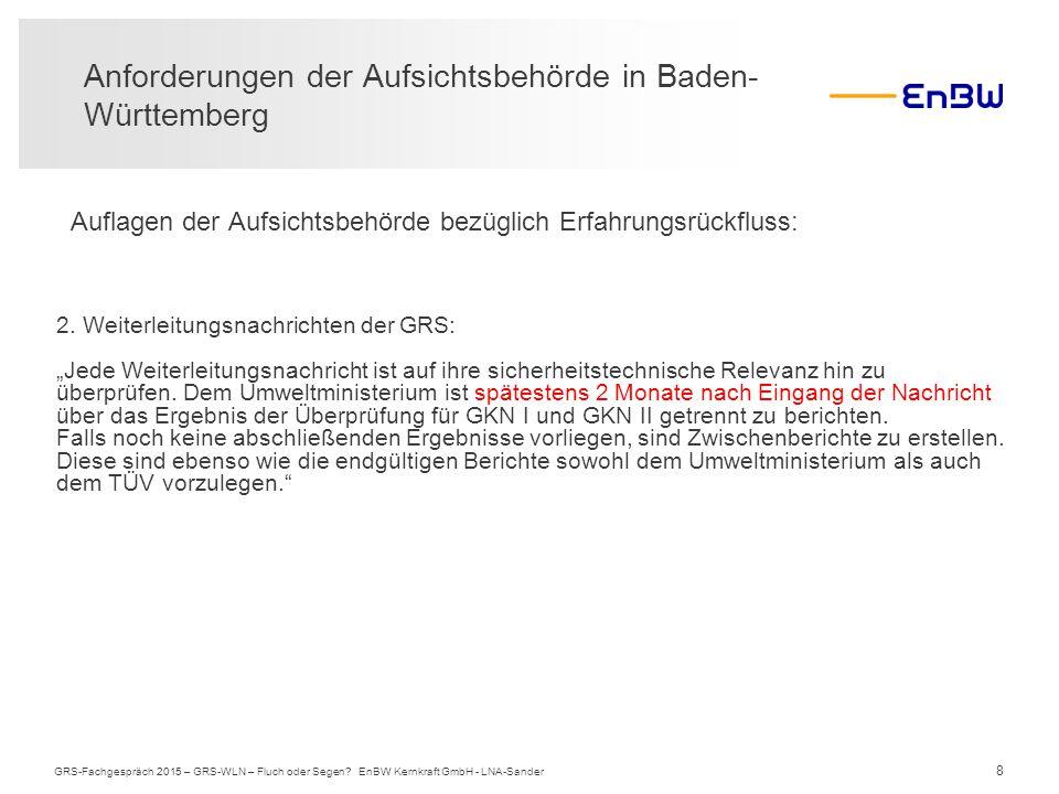 8 Auflagen der Aufsichtsbehörde bezüglich Erfahrungsrückfluss: Anforderungen der Aufsichtsbehörde in Baden- Württemberg GRS-Fachgespräch 2015 – GRS-WL