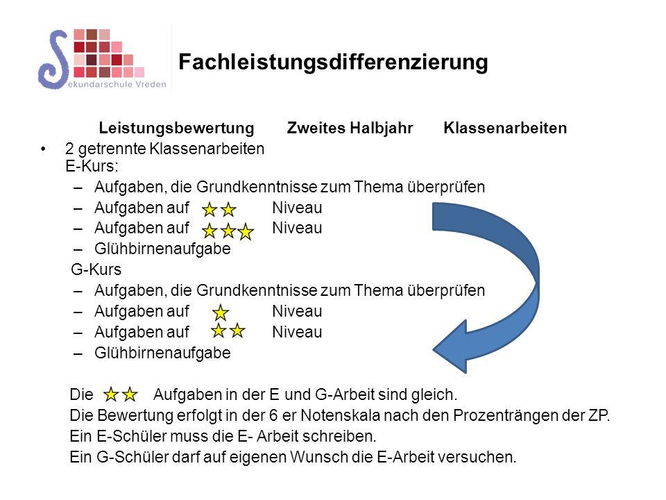 Fachleistungsdifferenzierung Wechsel des Kurses Die Durchlässigkeit in beide Richtungen (von E nach G und von G nach E) muss gewährleistet sein.
