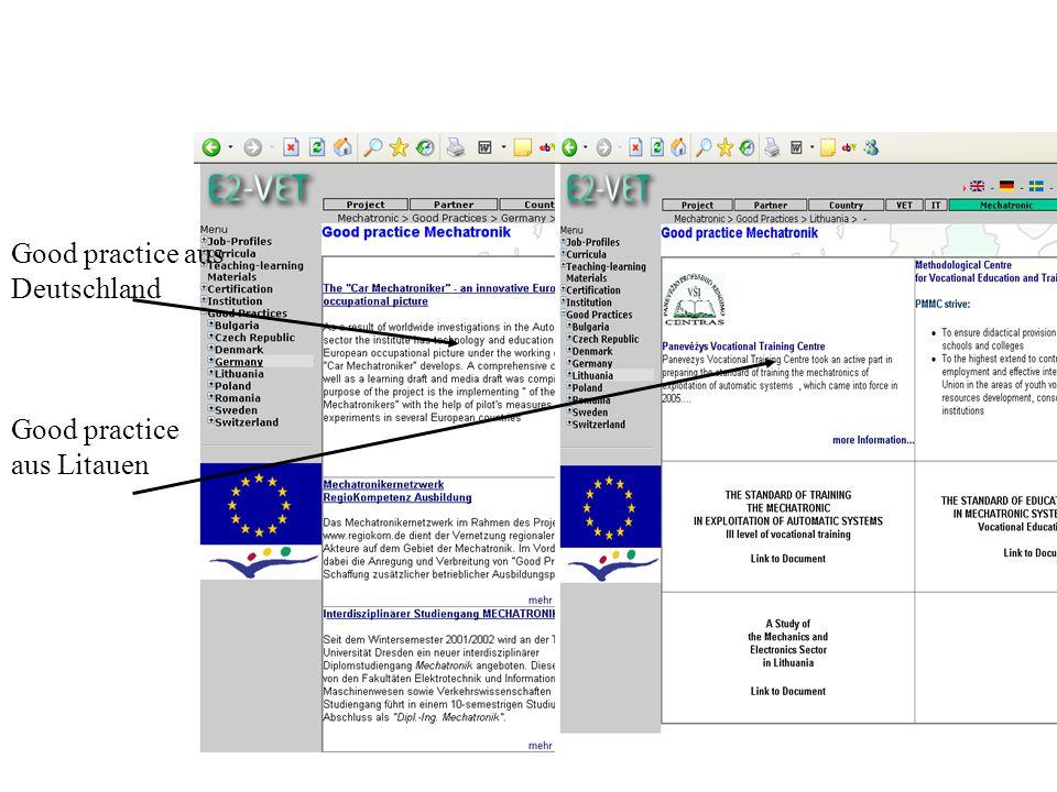 Good practice aus Deutschland Good practice aus Litauen