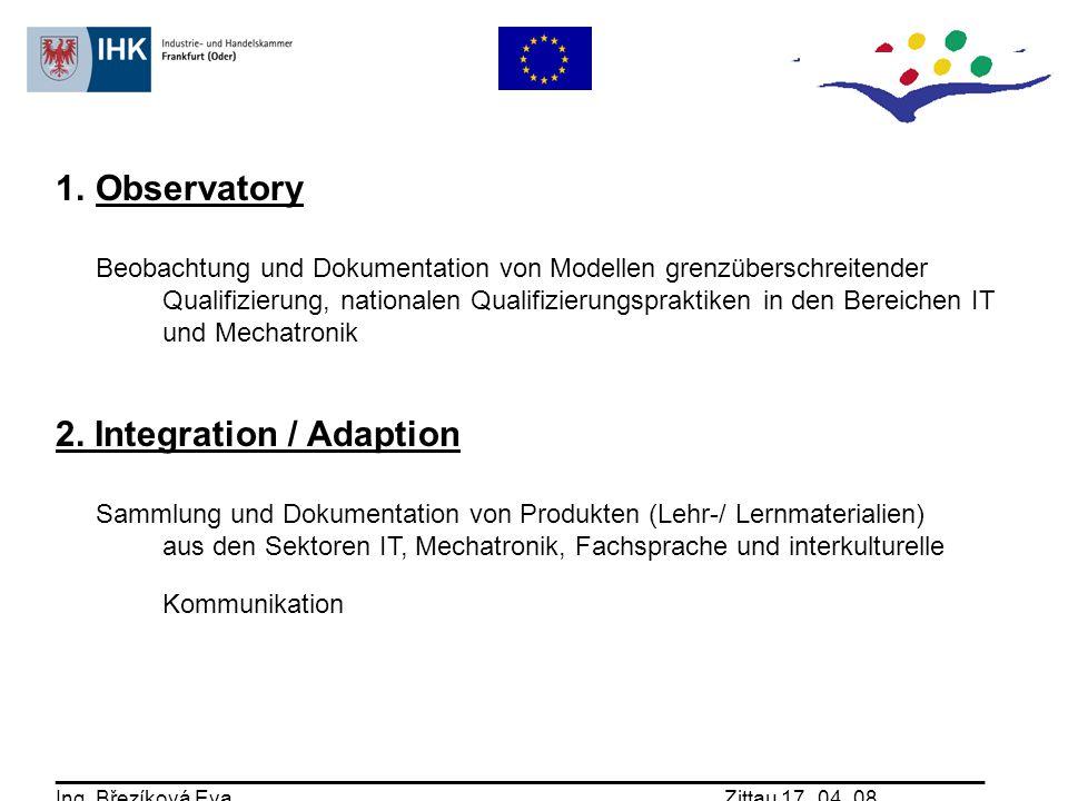 1.Observatory Beobachtung und Dokumentation von Modellen grenzüberschreitender Qualifizierung, nationalen Qualifizierungspraktiken in den Bereichen IT und Mechatronik 2.