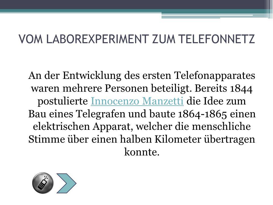 INNOCENZO MANZETTI 1844 postulierte er (1826– 1877), dass es die Möglich- keit gäbe, einen Telegrafen zu verwirklichen.