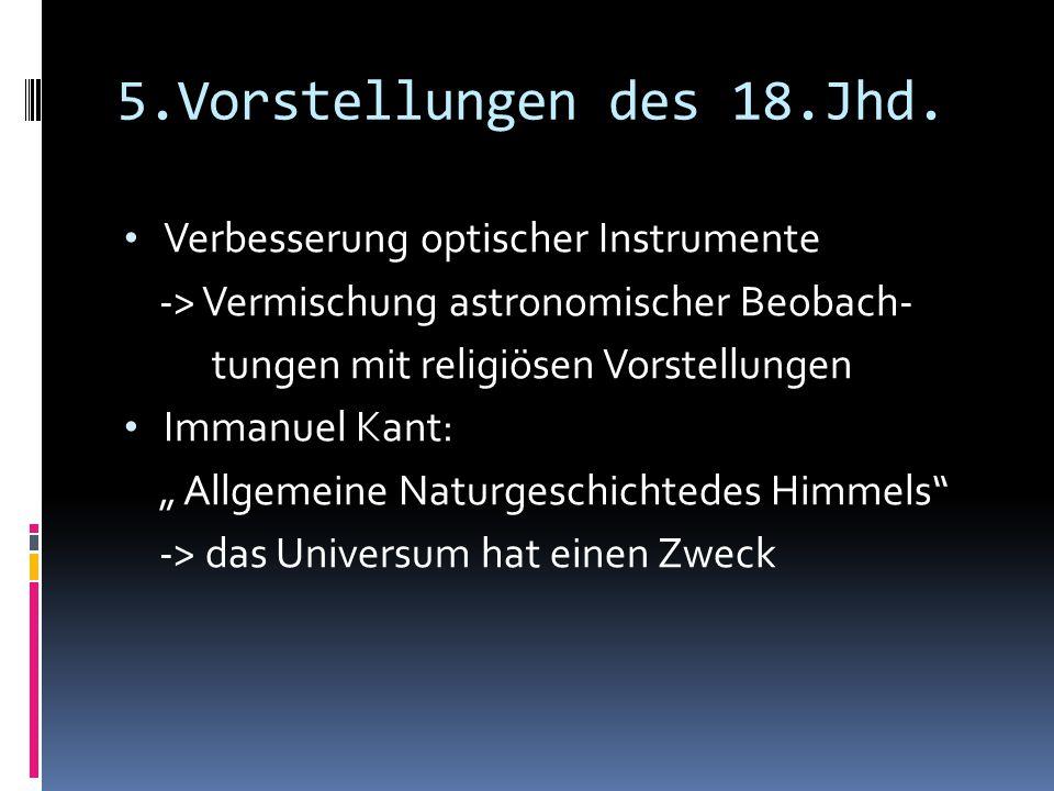 5.Vorstellungen des 18.Jhd. Verbesserung optischer Instrumente -> Vermischung astronomischer Beobach- tungen mit religiösen Vorstellungen Immanuel Kan