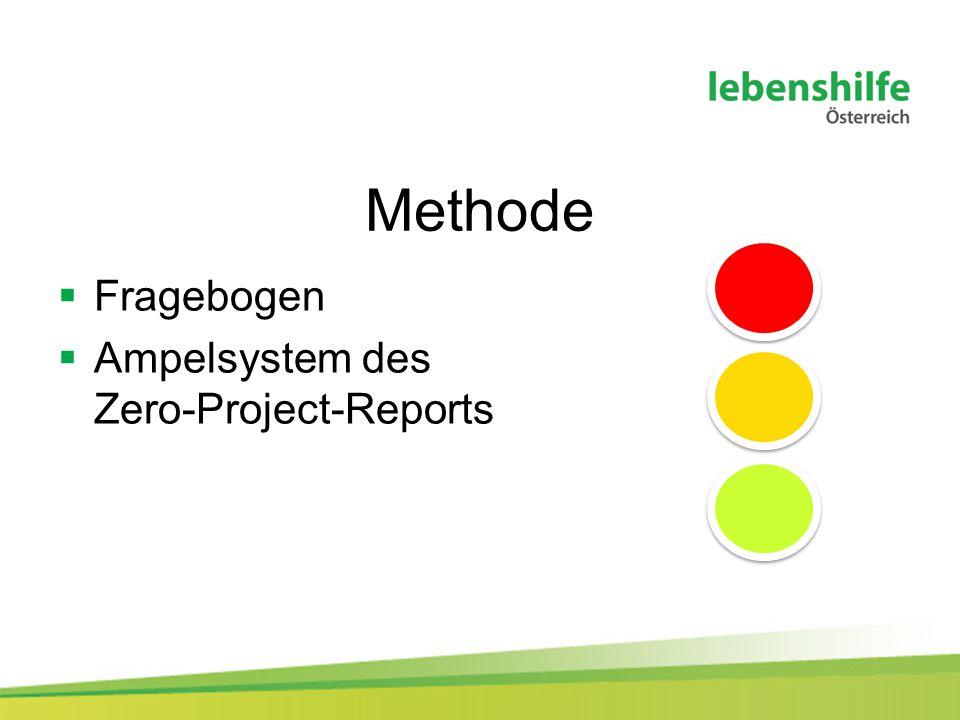 Methode  Fragebogen  Ampelsystem des Zero-Project-Reports