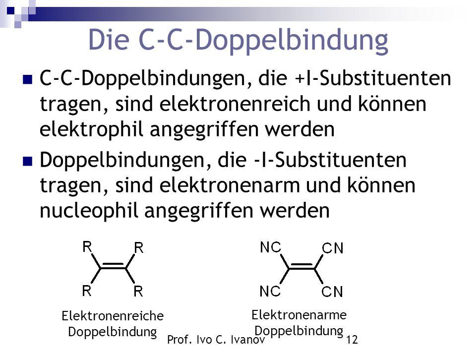 Prof. Ivo C. Ivanov12 Die C-C-Doppelbindung C-C-Doppelbindungen, die +I-Substituenten tragen, sind elektronenreich und können elektrophil angegriffen