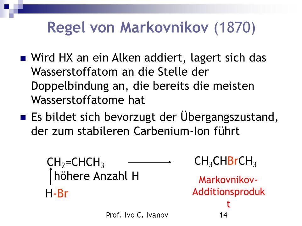 Prof. Ivo C. Ivanov14 Regel von Markovnikov (1870) CH 2 =CHCH 3 H-Br höhere Anzahl H CH 3 CHBrCH 3 Markovnikov- Additionsproduk t Wird HX an ein Alken