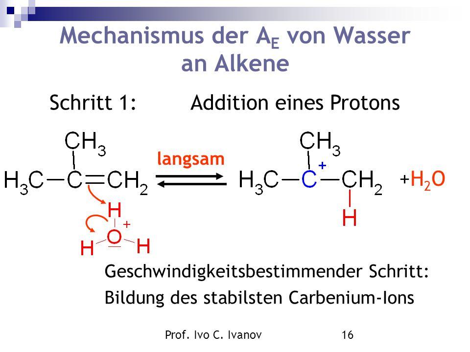 Prof. Ivo C. Ivanov16 Mechanismus der A E von Wasser an Alkene Schritt 1:Addition eines Protons langsam +H2O +H2O Geschwindigkeitsbestimmender Schritt