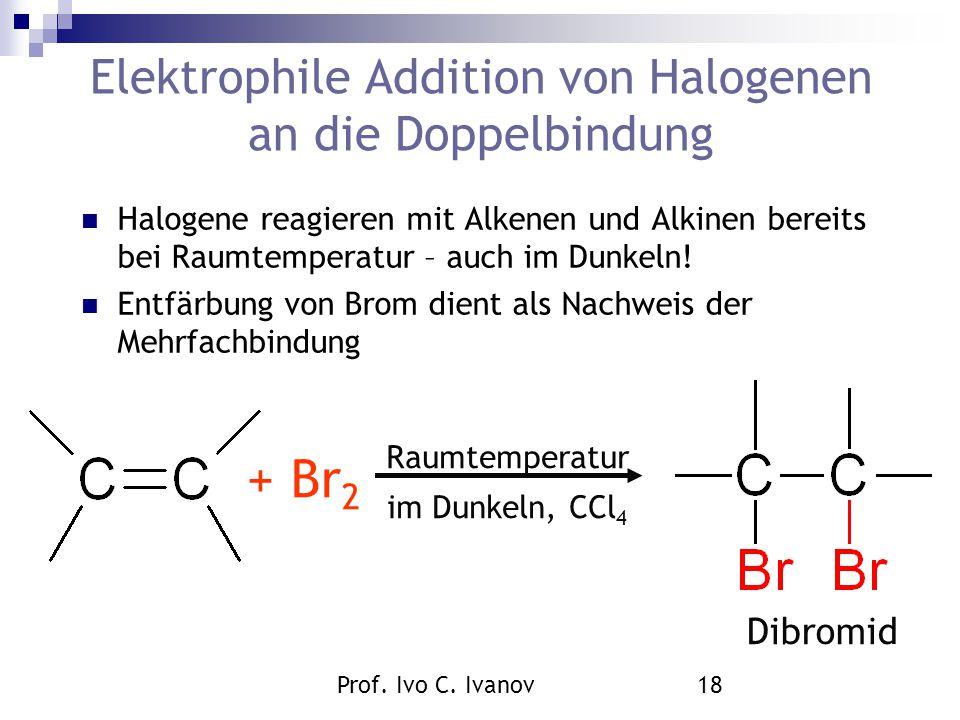 Prof. Ivo C. Ivanov18 Elektrophile Addition von Halogenen an die Doppelbindung Halogene reagieren mit Alkenen und Alkinen bereits bei Raumtemperatur –
