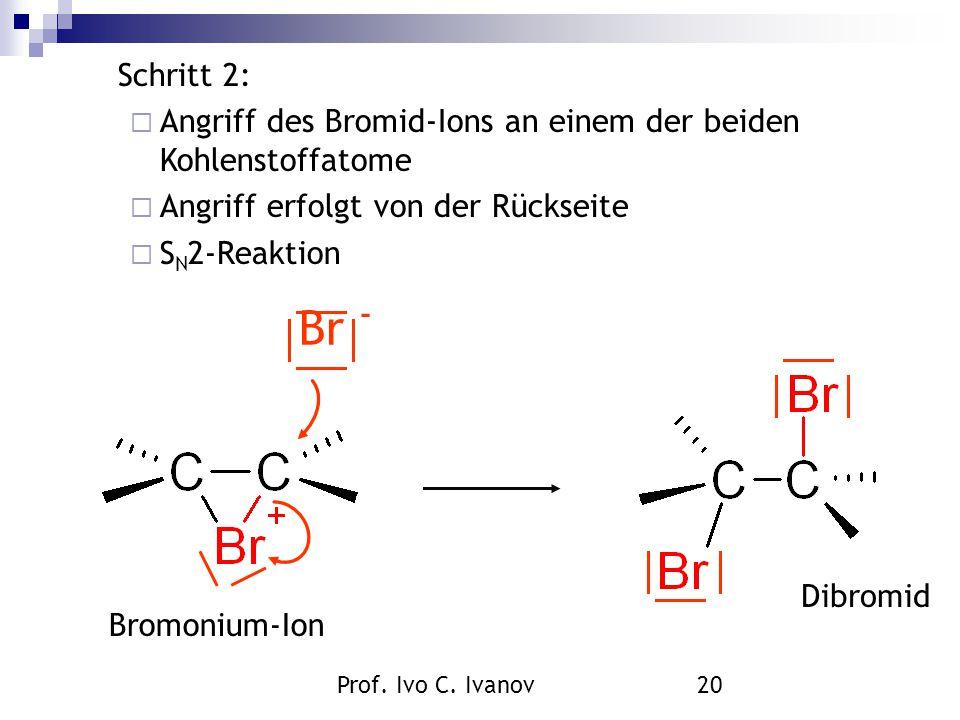 Prof. Ivo C. Ivanov20 Bromonium-Ion Dibromid Br - Schritt 2:  Angriff des Bromid-Ions an einem der beiden Kohlenstoffatome  Angriff erfolgt von der