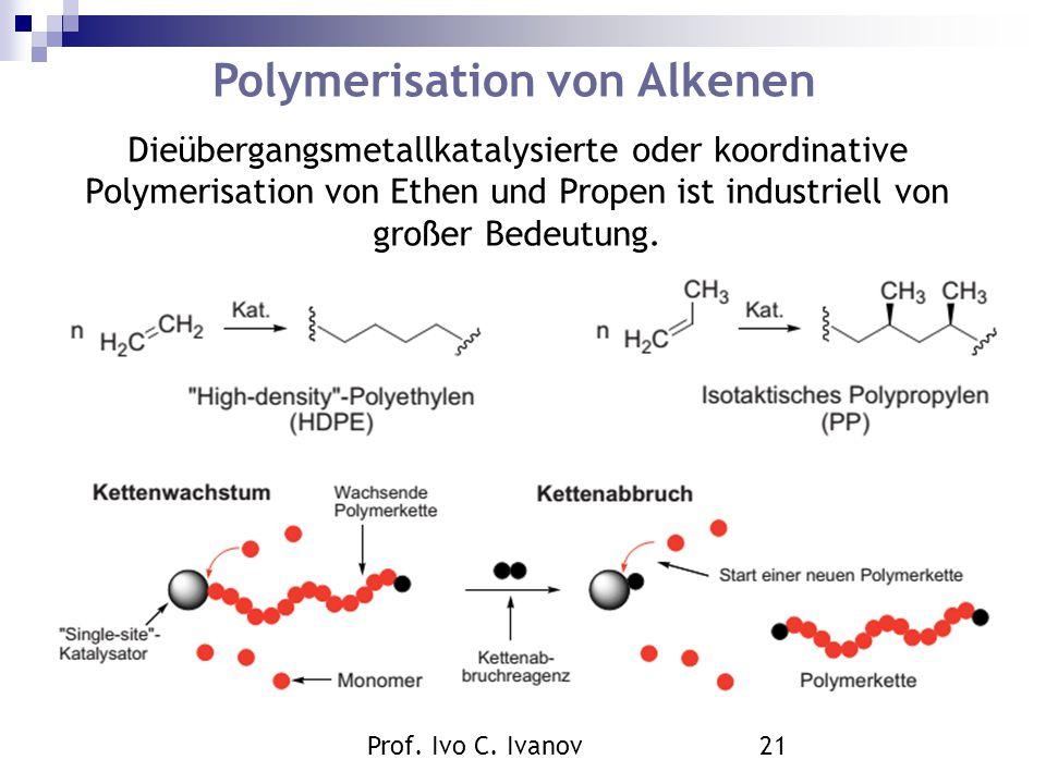 Prof. Ivo C. Ivanov21 Polymerisation von Alkenen Dieübergangsmetallkatalysierte oder koordinative Polymerisation von Ethen und Propen ist industriell