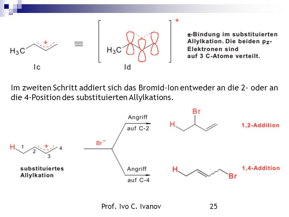 Prof. Ivo C. Ivanov25 Im zweiten Schritt addiert sich das Bromid-Ion entweder an die 2- oder an die 4-Position des substituierten Allylkations.