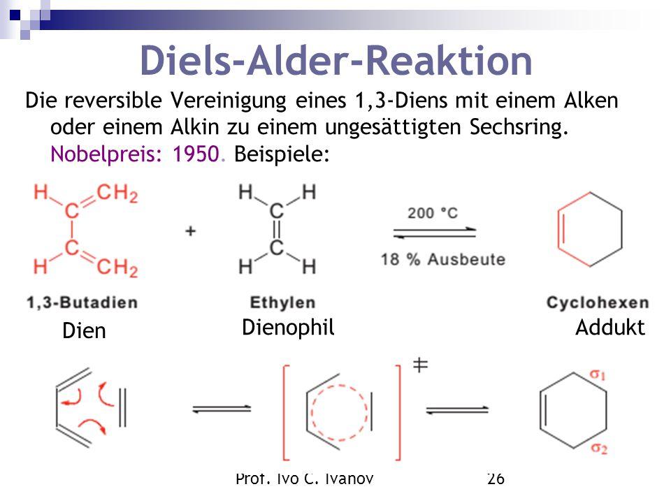 Prof. Ivo C. Ivanov26 Diels-Alder-Reaktion Die reversible Vereinigung eines 1,3-Diens mit einem Alken oder einem Alkin zu einem ungesättigten Sechsrin
