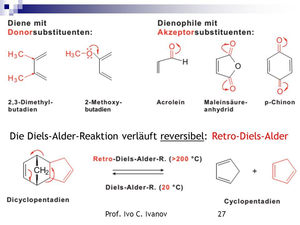 Prof. Ivo C. Ivanov27 Die Diels-Alder-Reaktion verläuft reversibel: Retro-Diels-Alder