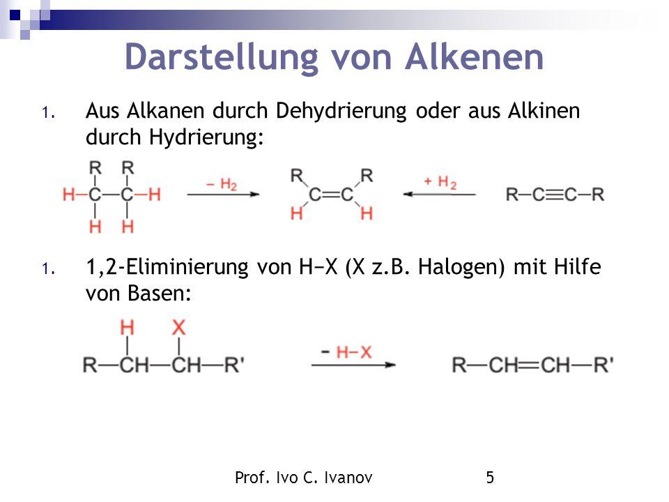 Prof. Ivo C. Ivanov5 Darstellung von Alkenen 1. Aus Alkanen durch Dehydrierung oder aus Alkinen durch Hydrierung: 1. 1,2-Eliminierung von H−X (X z.B.