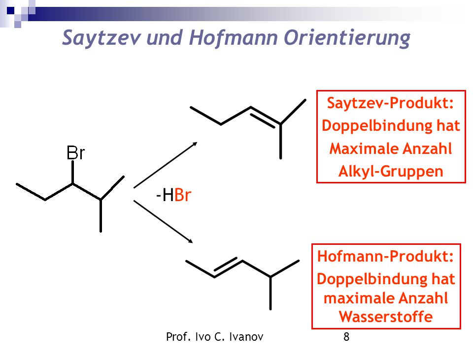 Prof. Ivo C. Ivanov8 Saytzev und Hofmann Orientierung -HBr Saytzev-Produkt: Doppelbindung hat Maximale Anzahl Alkyl-Gruppen Hofmann-Produkt: Doppelbin