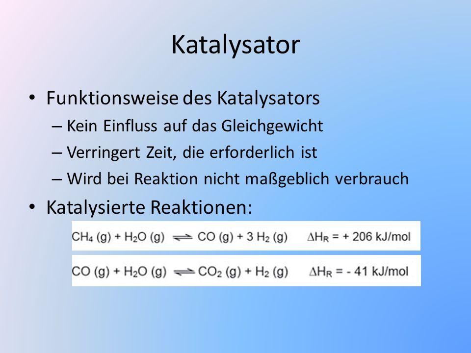 Katalysator Funktionsweise des Katalysators – Kein Einfluss auf das Gleichgewicht – Verringert Zeit, die erforderlich ist – Wird bei Reaktion nicht ma