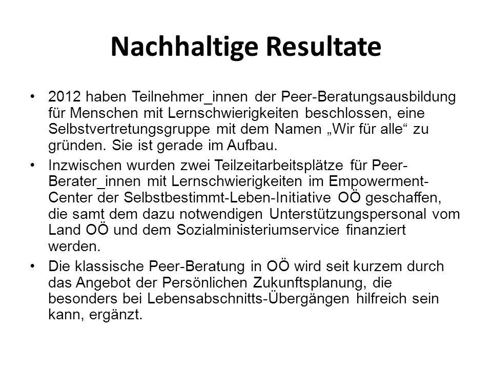 Nachhaltige Resultate 2012 haben Teilnehmer_innen der Peer-Beratungsausbildung für Menschen mit Lernschwierigkeiten beschlossen, eine Selbstvertretung