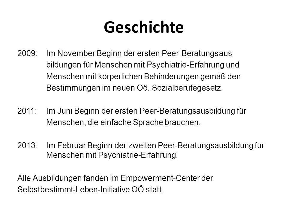 Geschichte 2009:Im November Beginn der ersten Peer-Beratungsaus- bildungen für Menschen mit Psychiatrie-Erfahrung und Menschen mit körperlichen Behind