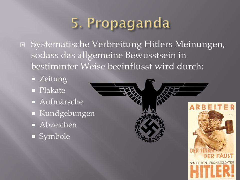  Systematische Verbreitung Hitlers Meinungen, sodass das allgemeine Bewusstsein in bestimmter Weise beeinflusst wird durch:  Zeitung  Plakate  Auf