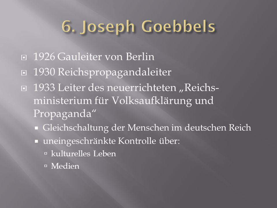 """ 1926 Gauleiter von Berlin  1930 Reichspropagandaleiter  1933 Leiter des neuerrichteten """"Reichs- ministerium für Volksaufklärung und Propaganda"""" """